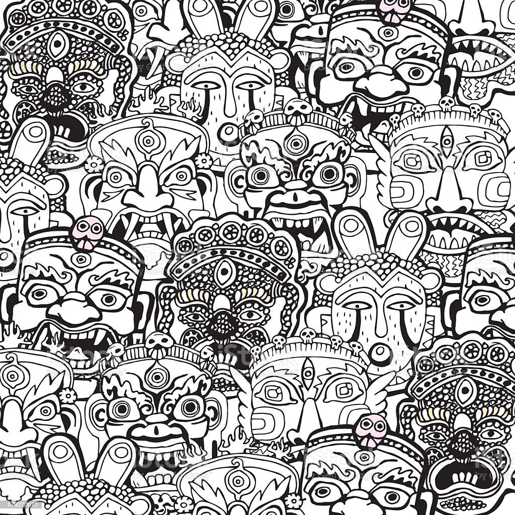 Set Of Masks Retro Hand Drawncoloring Book Pages Stock Vektor Art Und Mehr Bilder Von Abstrakt Istock