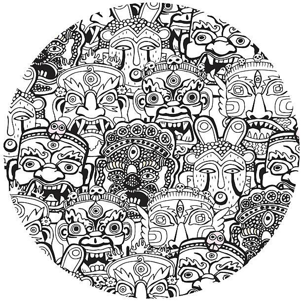 illustrazioni stock, clip art, cartoni animati e icone di tendenza di set of masks. retro hand drawn.coloring book pages. - totem fair