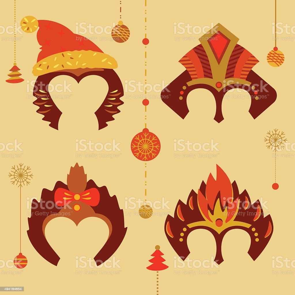 Ilustracion De Juego De Mascaras Para Celebrar Un Feliz Ano Nuevo Y