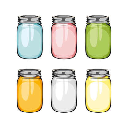 Set of mason glass jar. ball.  Empty glass jar in difrent colours with handle.