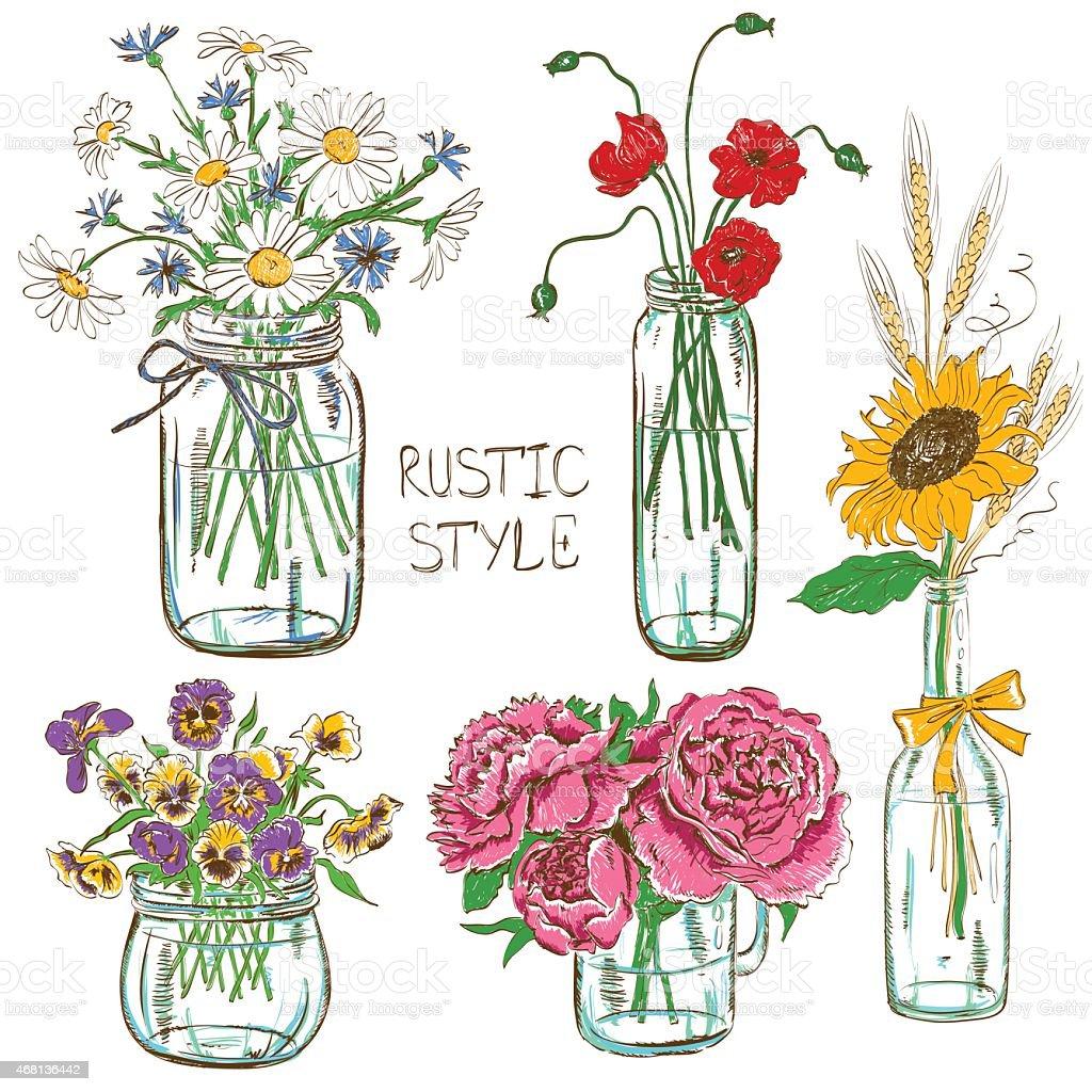 Juego de mason frascos con flores - ilustración de arte vectorial