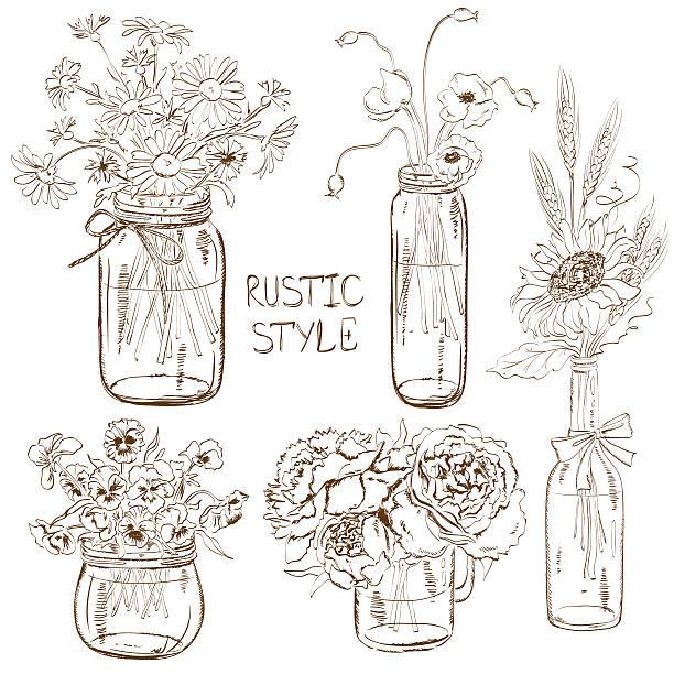 satz von mason gläser mit blumen - glasblumen stock-grafiken, -clipart, -cartoons und -symbole