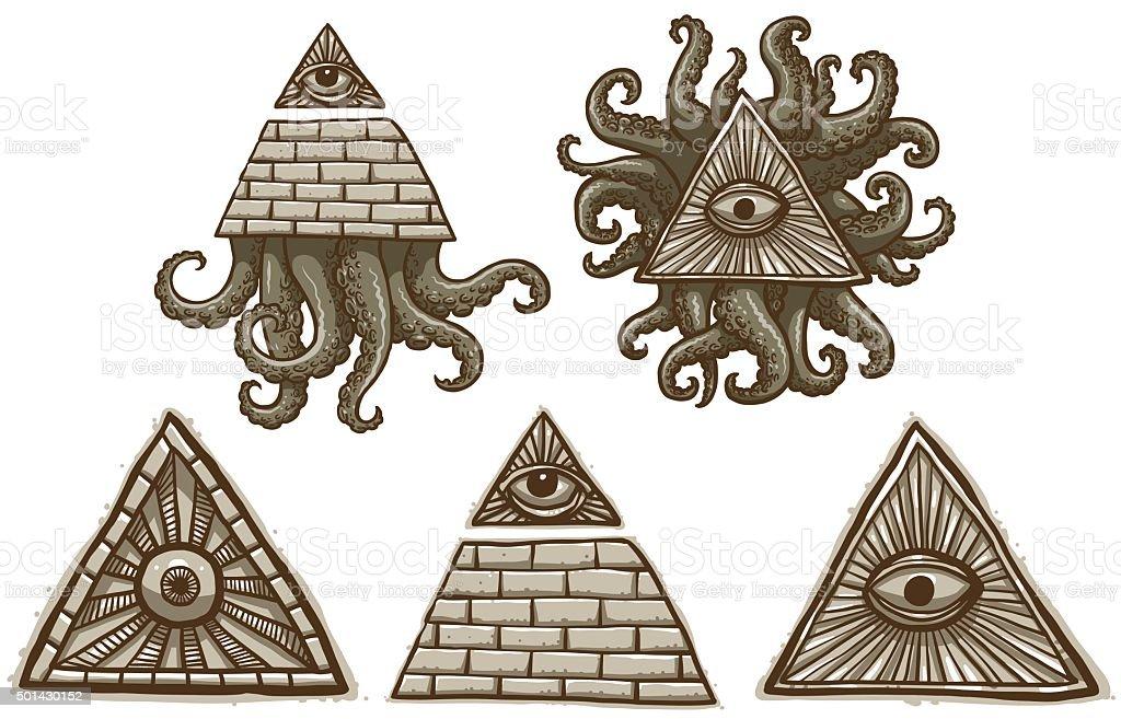 Set Of Masonic Symbols Stock Vector Art More Images Of Awe