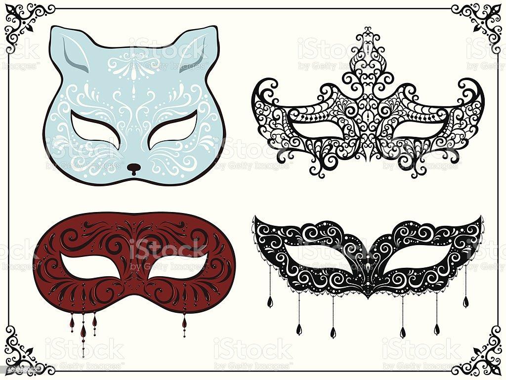 Set of masquerade masks vector art illustration