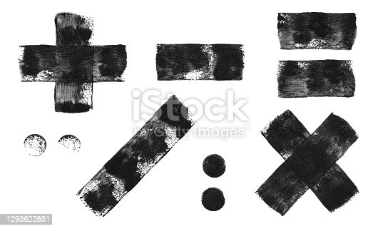 istock Set of mathematical signs - abstract hand painted vector illustration made by wall roller and black paint - single object isolated on white paper background with fantastic original texture effect full of imperfections 1293622851