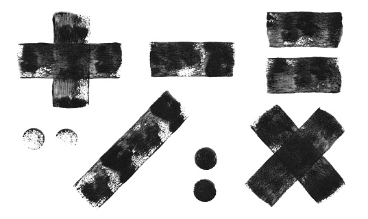 Set of mathematical signs - abstract hand painted vector illustration made by wall roller and black paint - single object isolated on white paper background with fantastic original texture effect full of imperfections