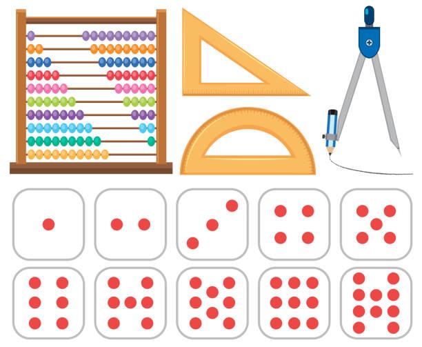 bildbanksillustrationer, clip art samt tecknat material och ikoner med uppsättning av matematik utrustning - abakus