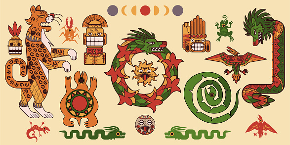 Set of Mayan or Aztec patterns, tribal elements