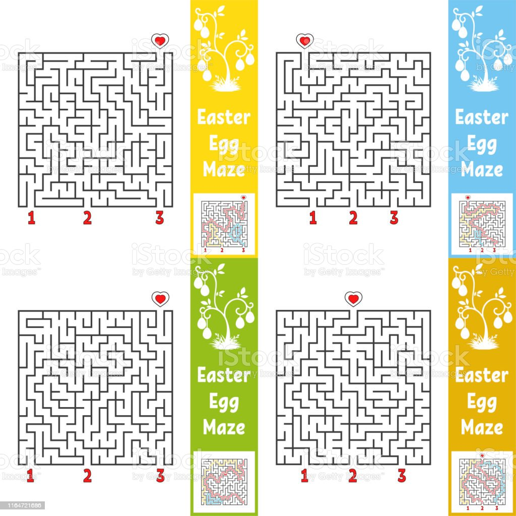 A set of mazes. Cartoon style. Visual worksheets. Activity page. Game...