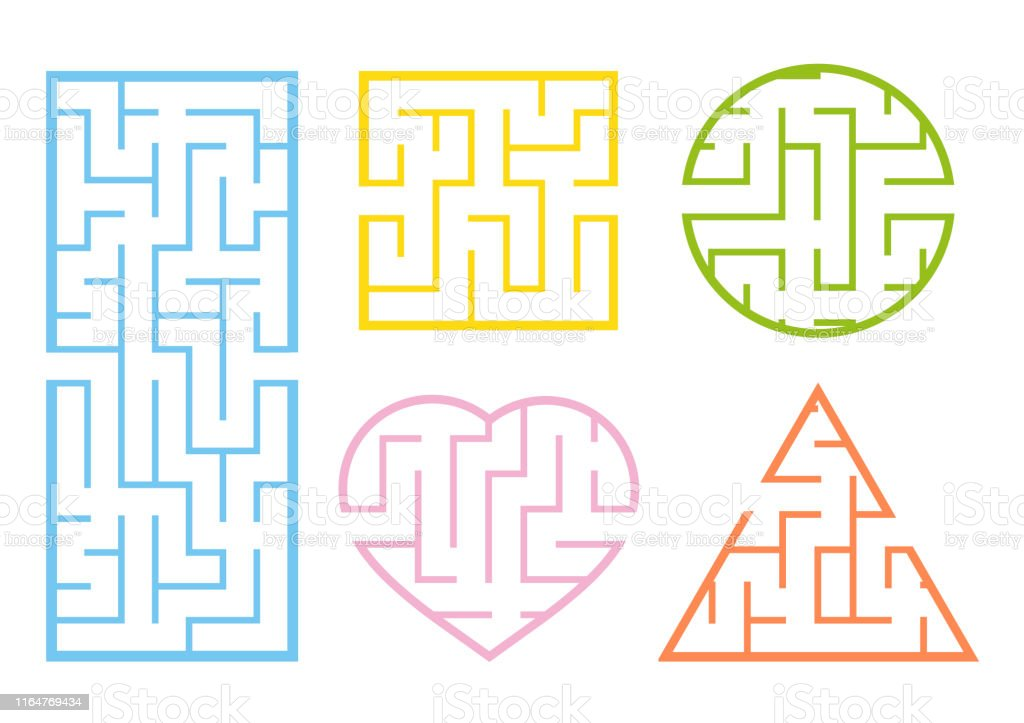 A set of mazes. Game for kids. Puzzle for children. Labyrinth...