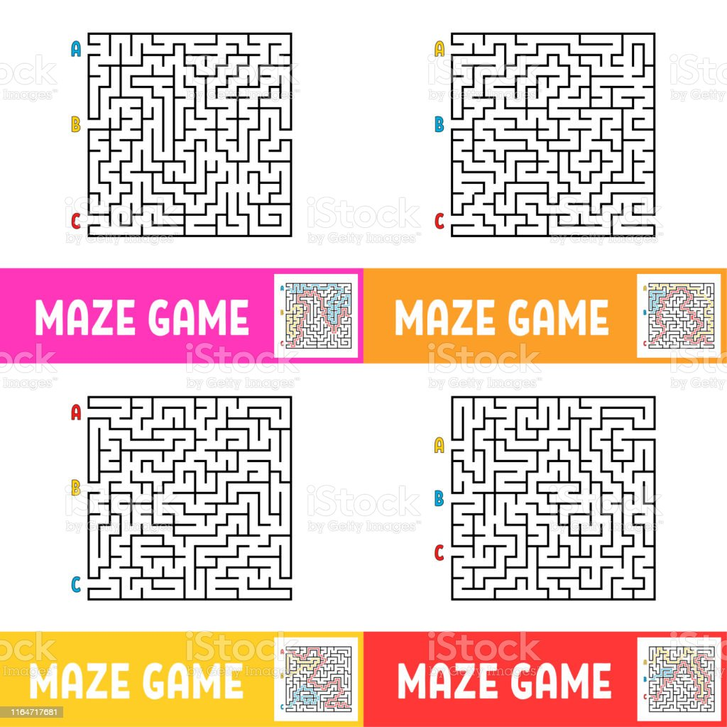 A set of mazes. Game for kids. Puzzle for children. Maze conundrum....