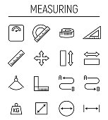 istock Set of measuring icons in modern thin line style. 875098028