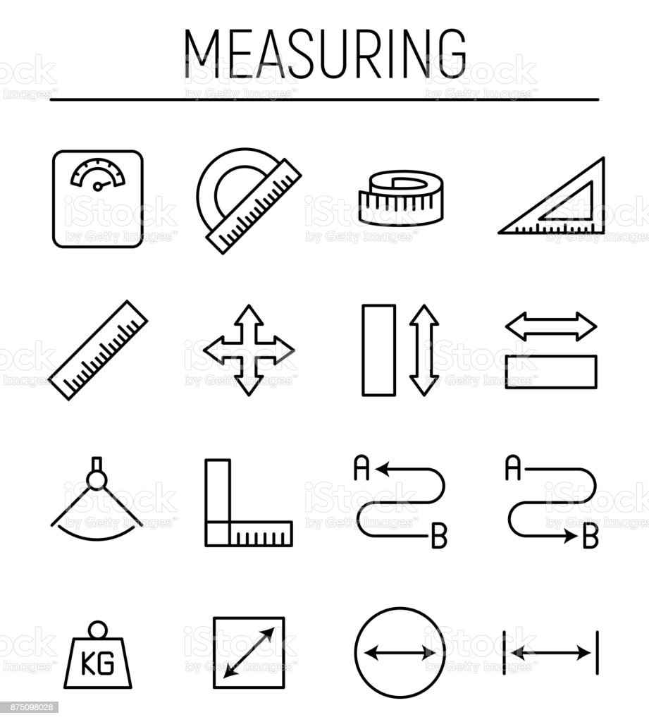 Set of measuring icons in modern thin line style. vector art illustration