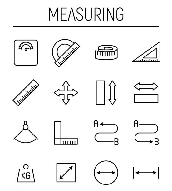 Set of measuring icons in modern thin line style. Set of measuring icons in modern thin line style. High quality black outline measure symbols for web site design and mobile apps. Simple measuring pictograms on a white background. instrument of measurement stock illustrations