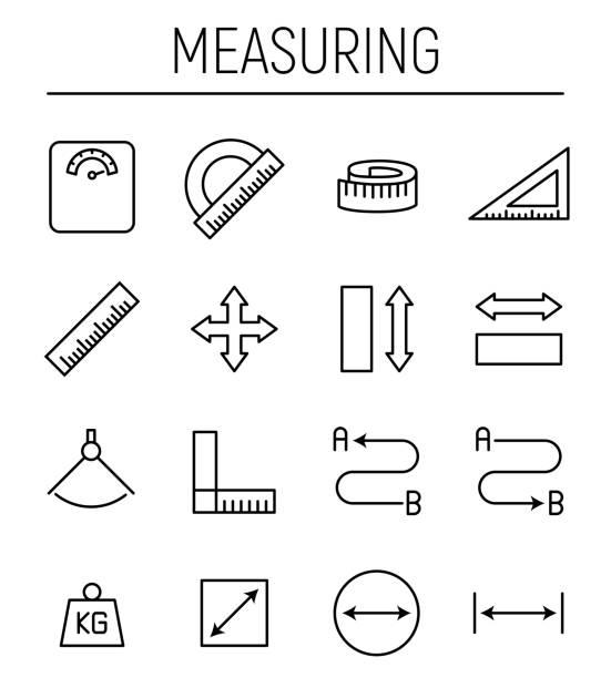 stockillustraties, clipart, cartoons en iconen met set meten pictogrammen in moderne dunne lijnstijl. - meten