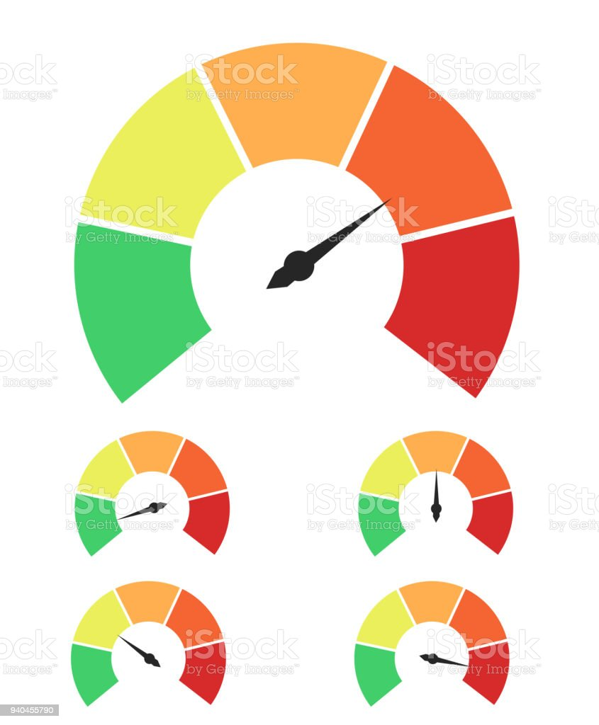 Set of measuring icons. Speedometer or rating meter signs infographic gauge elements vector art illustration