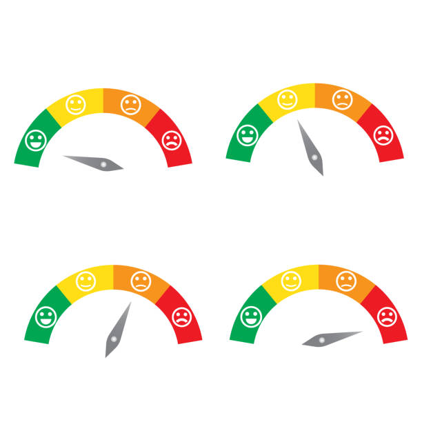 Set of measuring speedometer with emotions, Easy Normal Hard vector art illustration