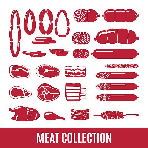 set of meat and sausage icons. - roastbeef stock-grafiken, -clipart, -cartoons und -symbole