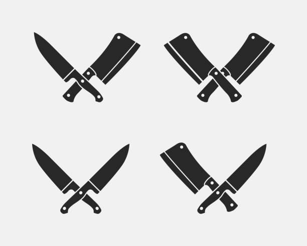 stockillustraties, clipart, cartoons en iconen met set van vlees snijden messen pictogrammen. slager messen geïsoleerd op een witte achtergrond. vectorillustratie - keukenmes