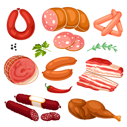 Set of meat products. Illustration of sausages, bacon and ham