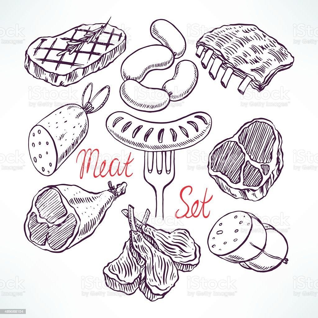 Conjunto de produtos de carne - ilustração de arte em vetor