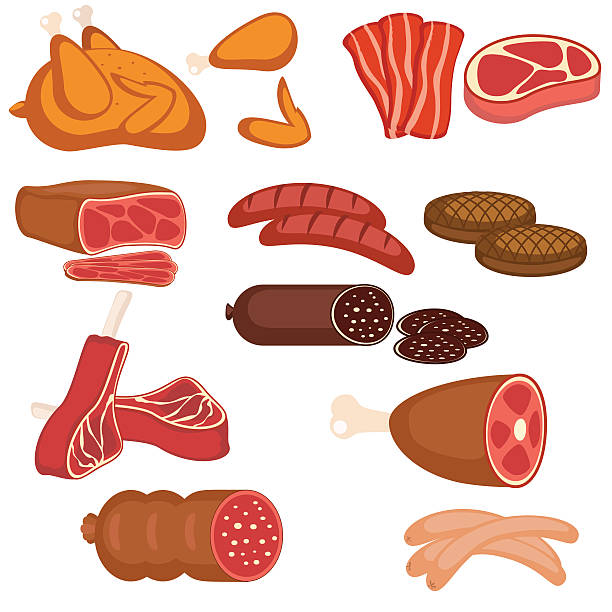 Set of meat products vector art illustration