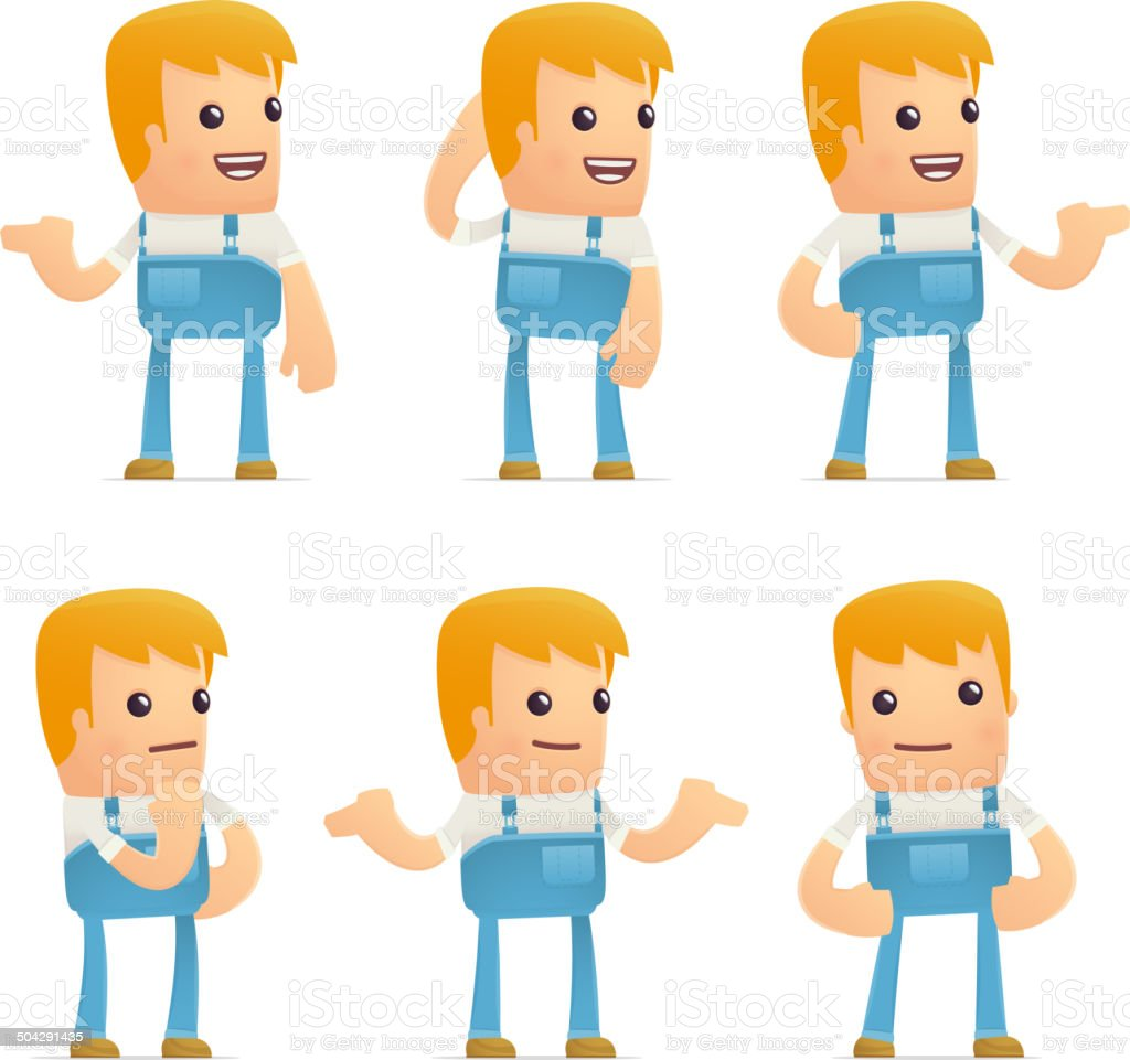 set of mechanic character in different poses vector art illustration