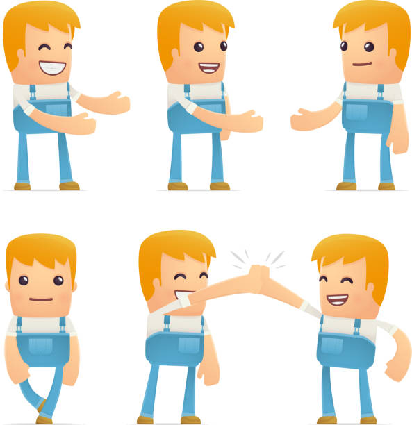 set of mechanic character in different poses set of mechanic character in different interactive  poses pipefitter illustrations stock illustrations