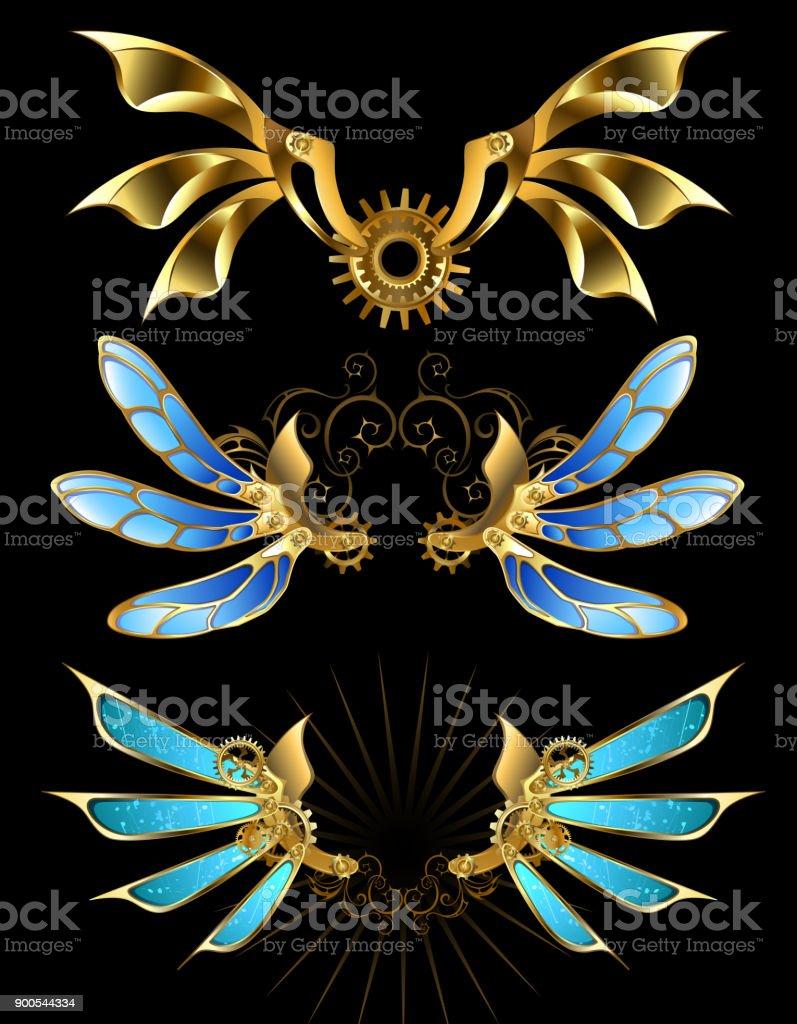 Set of mechanical wings vector art illustration