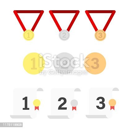 Set of medals coins and charters of competition isolated symbols. Gold silver bronze medals. Winner prize icon.Trophy award concept design. ESP 10
