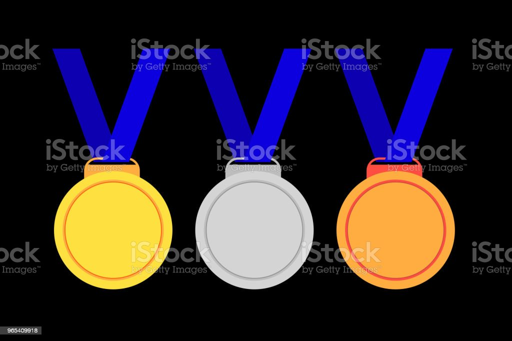 Set of Medals, First Second and Third Winner royalty-free set of medals first second and third winner stock vector art & more images of no people