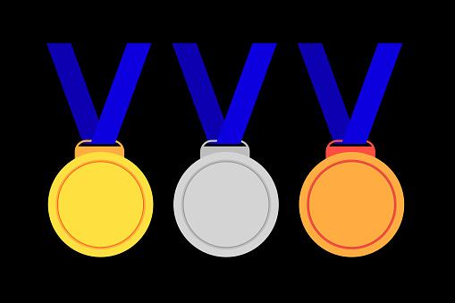 첫 번째 및 세 번째 우승자 메달의 세트 가격에 대한 스톡 벡터 아트 및 기타 이미지