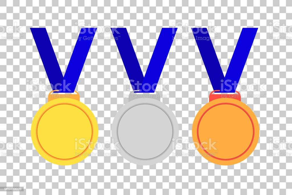 Ensemble de médailles, premier vainqueur de deuxième et troisième - clipart vectoriel de Acheter libre de droits