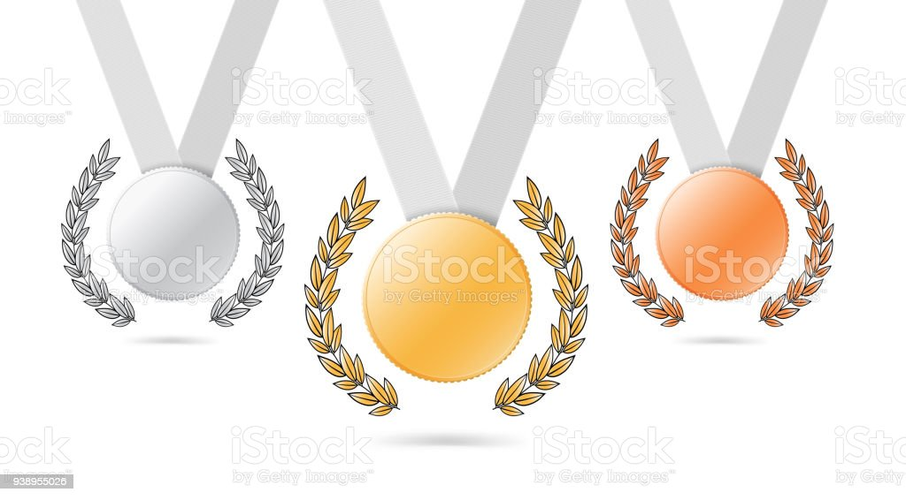 Set Of Medals On Ribbons With Laurel Wreaths Gold Silver And