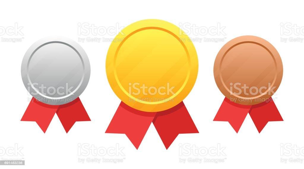 Set of medals vector art illustration