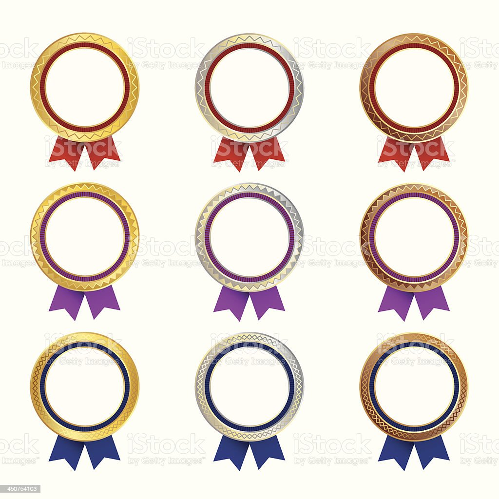 Set of medals with colored ribbons royalty-free stock vector art