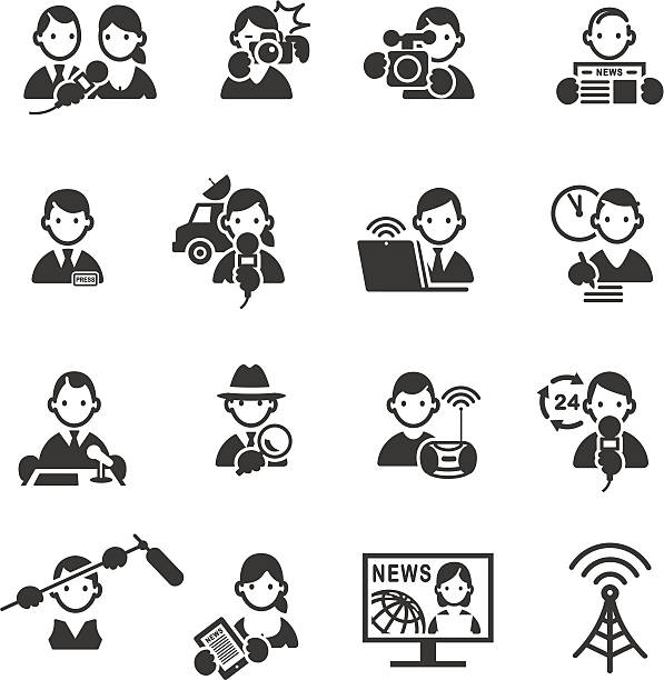 stockillustraties, clipart, cartoons en iconen met set of media and press icons. - perskamer