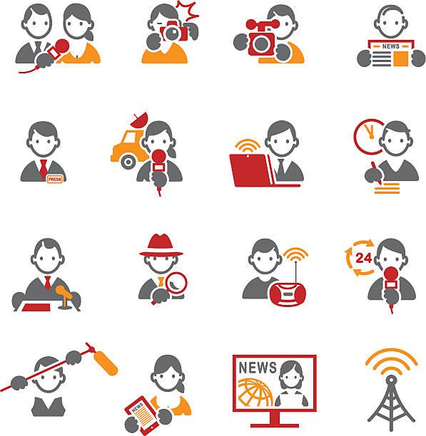 illustrations, cliparts, dessins animés et icônes de ensemble de médias et icônes de presse. - interview