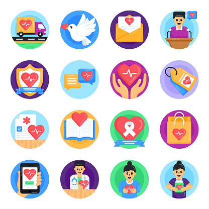 Set of Medical and Heart Day Flat Icons