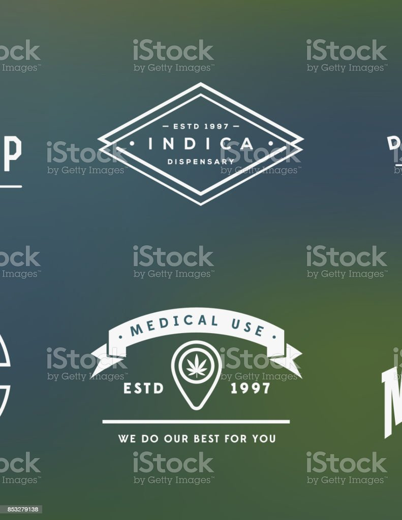 Set of Medical Cannabis Marijuana Sign or Label Template in Vector. Can be used as a Logotype. vector art illustration