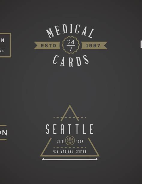 Reihe von medizinischem Cannabis Marihuana Zeichen oder Etikettenvorlage in Vektor. Kann als ein Logo verwendet werden. – Vektorgrafik