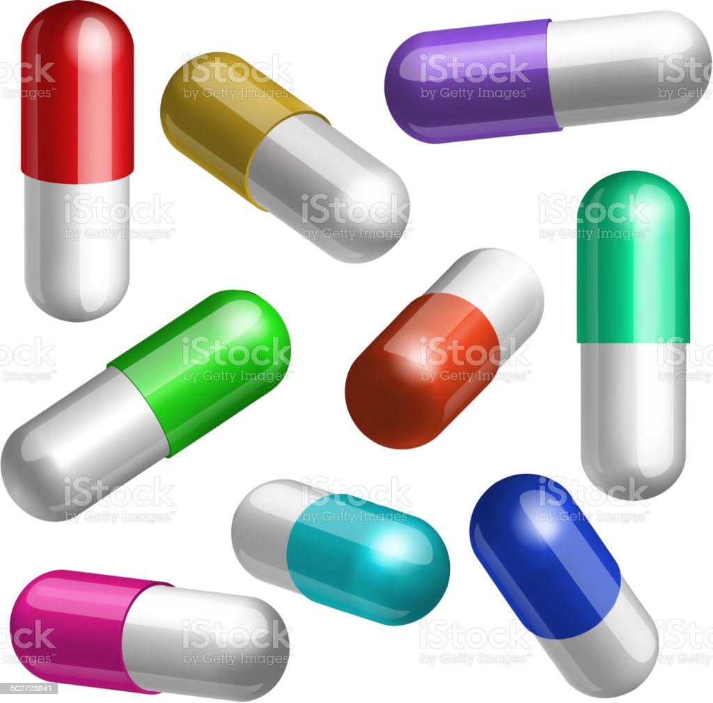 Set of medical capsules in different positions royalty-free stock vector art
