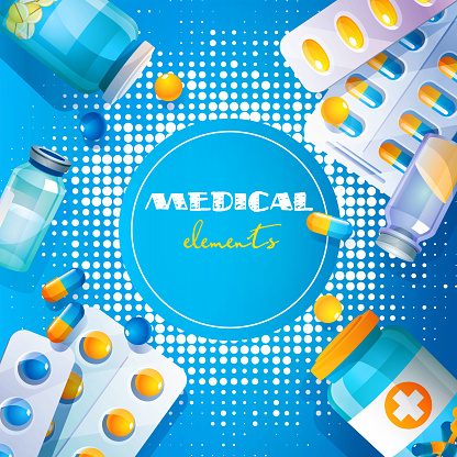 A set of medical elements on an abstract colored background.