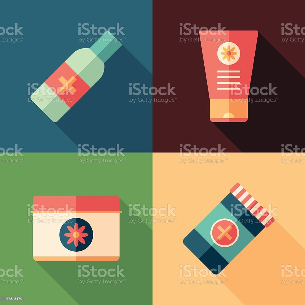 Set of medical flat square icons with long shadows. vector art illustration