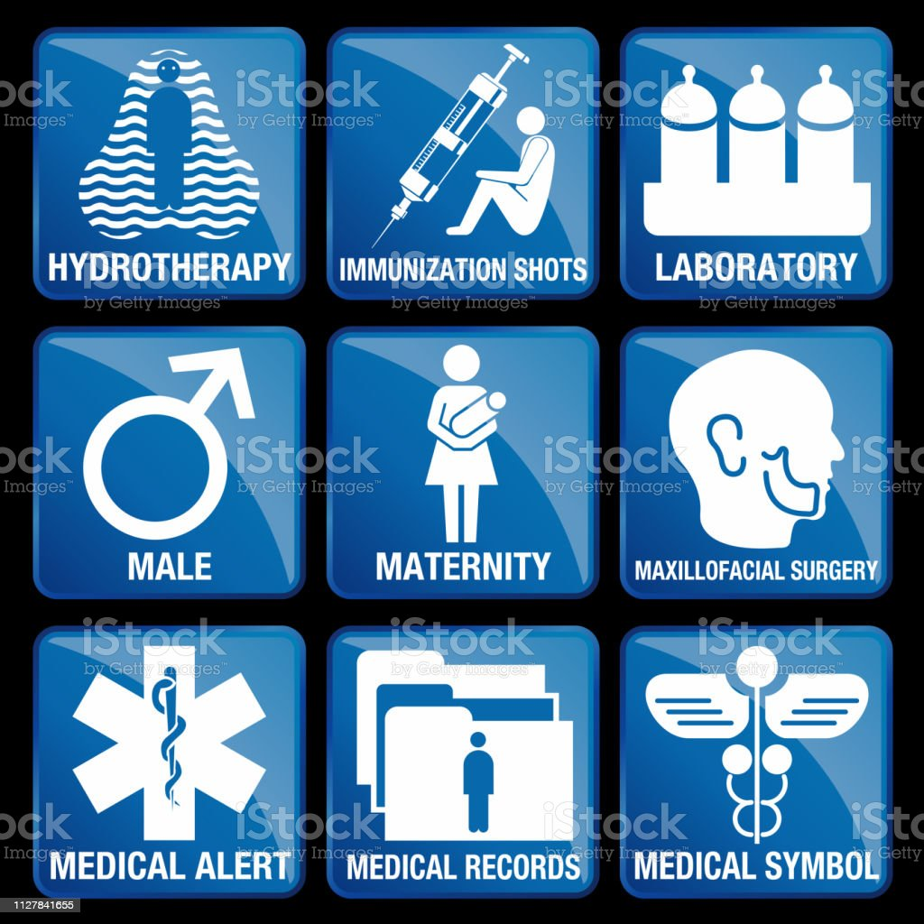 Set of Medical Icons in blue square background - HYDROTHERAPY,...