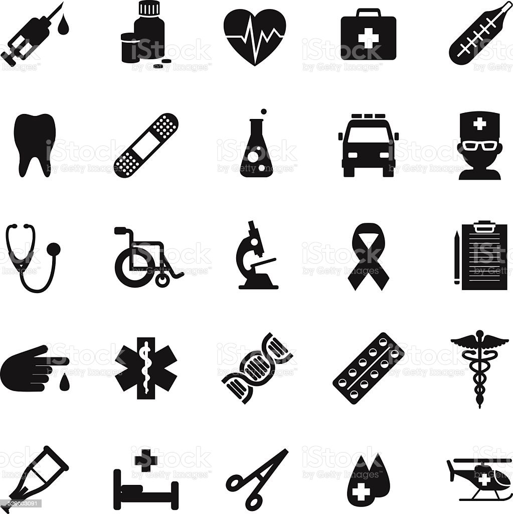 Set of medical icons in simple flat style vector art illustration