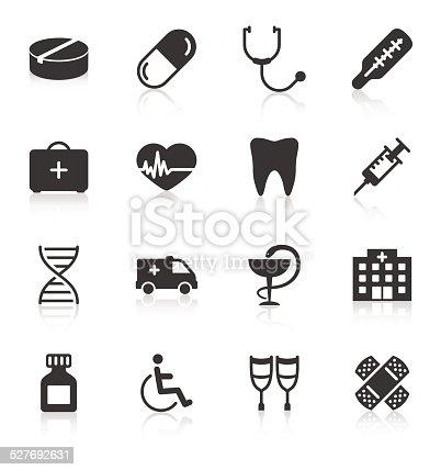 Set of medical icons on white background. Vector illustration