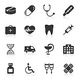 Set of medical icons on white background. Vector illustration