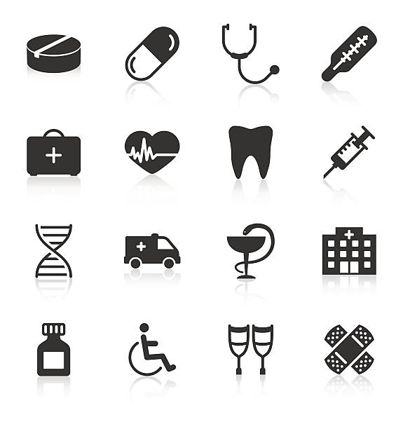 satz von medizinischen icons auf weißem hintergrund - schmerzmittel stock-grafiken, -clipart, -cartoons und -symbole
