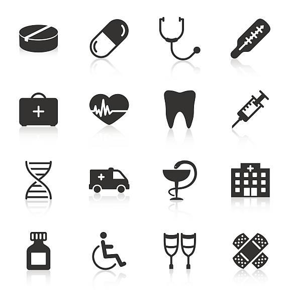 Set of medical icons on white background Set of medical icons on white background. Vector illustration conceptual symbol stock illustrations